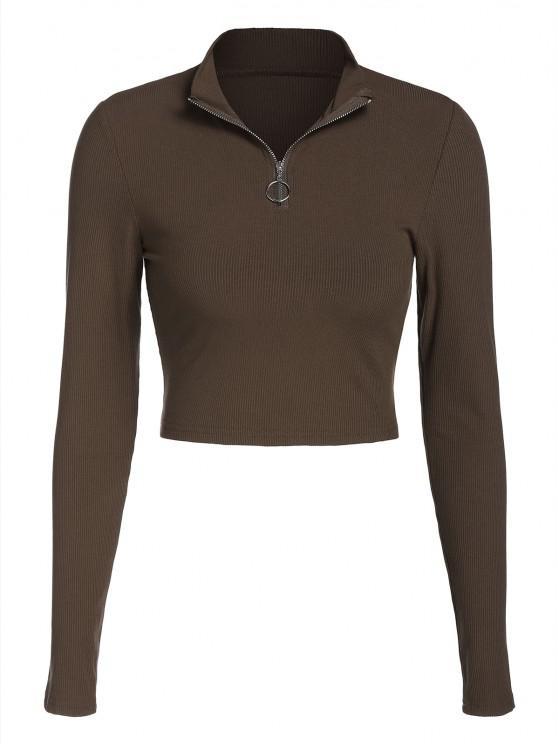 T-Shirt Corta con Cerniera di ZAFUL - marrone scuro XL