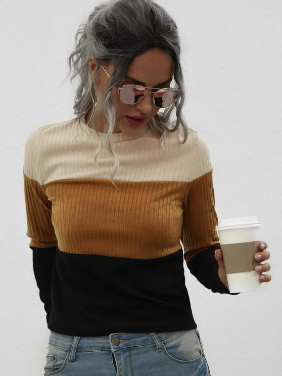 Jersey Tejido Acanalada con Bloqueo de Color - café XL