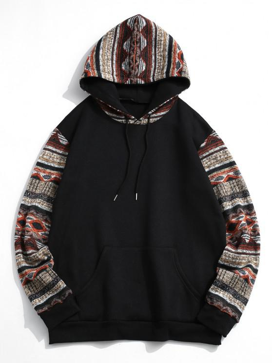 Tribal Patterned Kangaroo Pocket Fleece Hoodie - أسود S