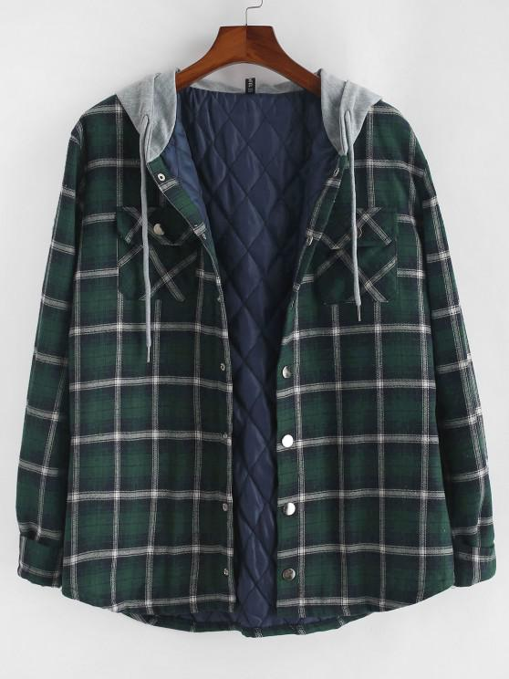 Plaid Print Double Pockets Hooded Padded Jacket - ديب غرين L