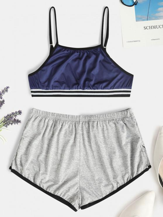 chic Striped Hem Short Pajama Set - DEEP BLUE L