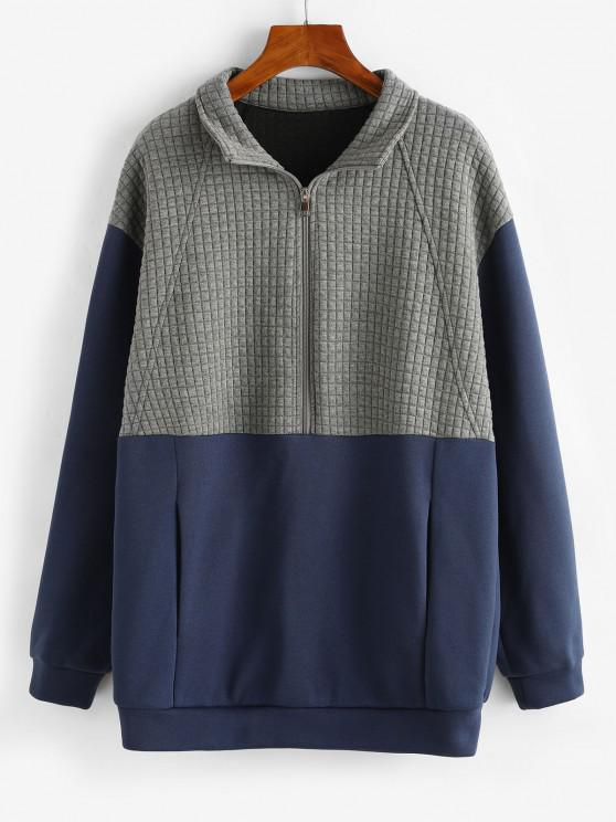 ZAFUL Two Tone Half Zip Boyfriend Sweatshirt - أزرق L