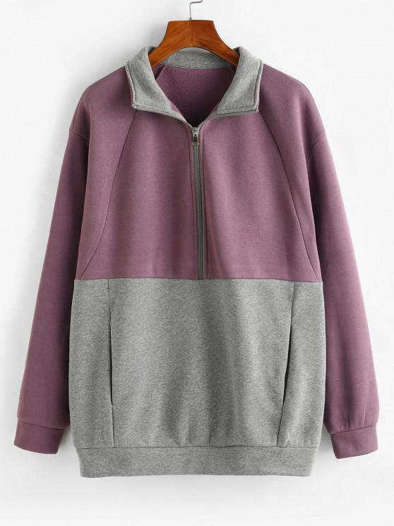 ZAFUL Two Tone Pockets Half Zip Sweatshirt - أرجواني L