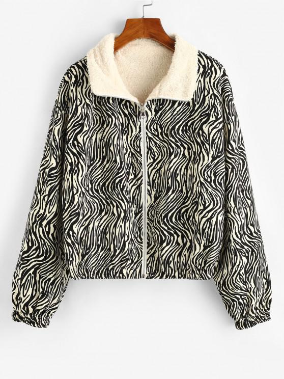 ZAFUL Zip Up Zebra Print Fleece Lined Jacket - أسود M