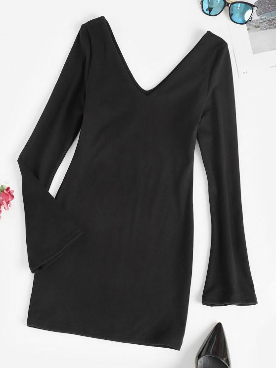 Long Sleeve Double V Slinky Mini Dress - أسود L