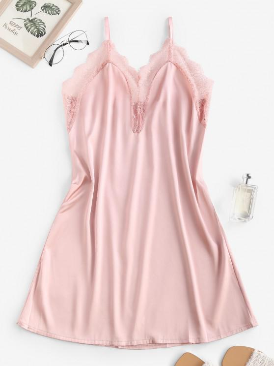 online Satin Lace Insert Cami Night Dress - LIGHT PINK M