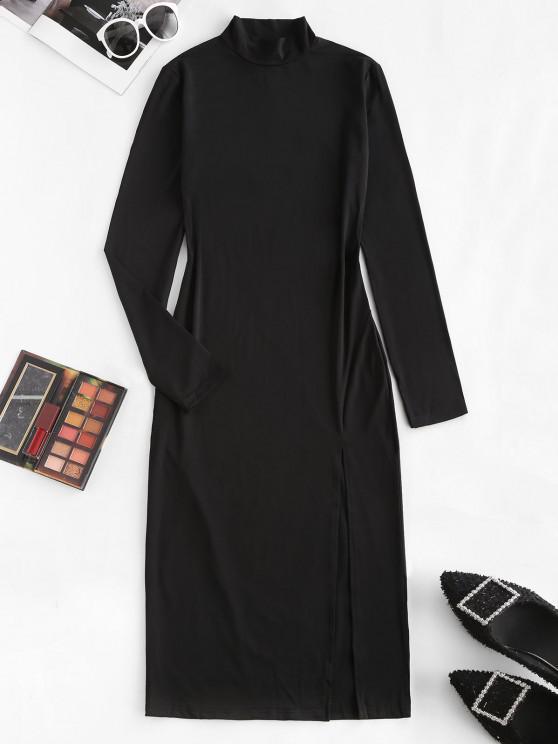 women's High Neck Slit Bodycon Dress - BLACK M