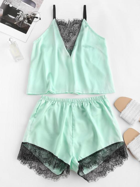 unique Flower Lace Satin Pajama Shorts Set - LIGHT GREEN L