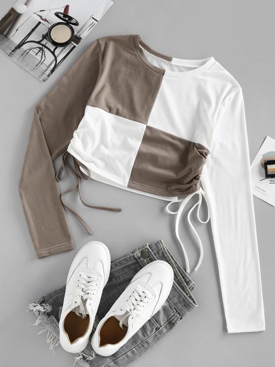 fashion ZAFUL Two Tone Cinched Crop T Shirt - MULTI M