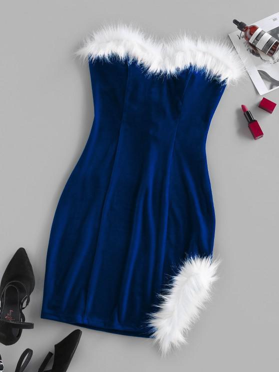 Vestito in Velluto Senza Spalline con Lacci Indietro di ZAFUL - Blu L