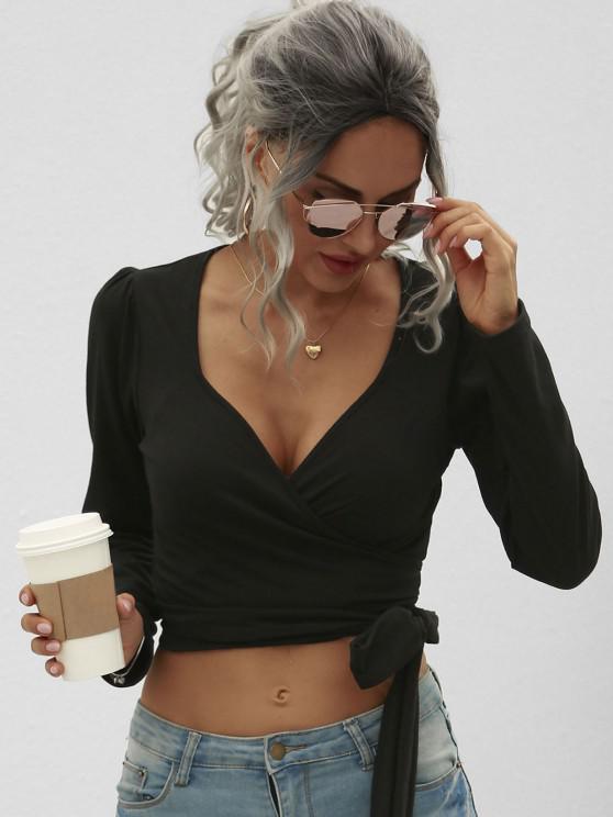 ladies Solid Cropped Wrap Tee - BLACK M
