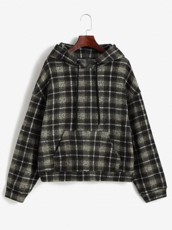 best ZAFUL Plaid Fleece Lined Knitted Pocket Hoodie - BROWN BEAR L