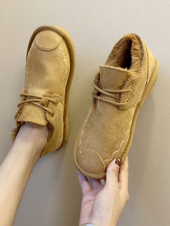 sale Lace Up Faux Fur Flat Shoes - BROWN EU 39