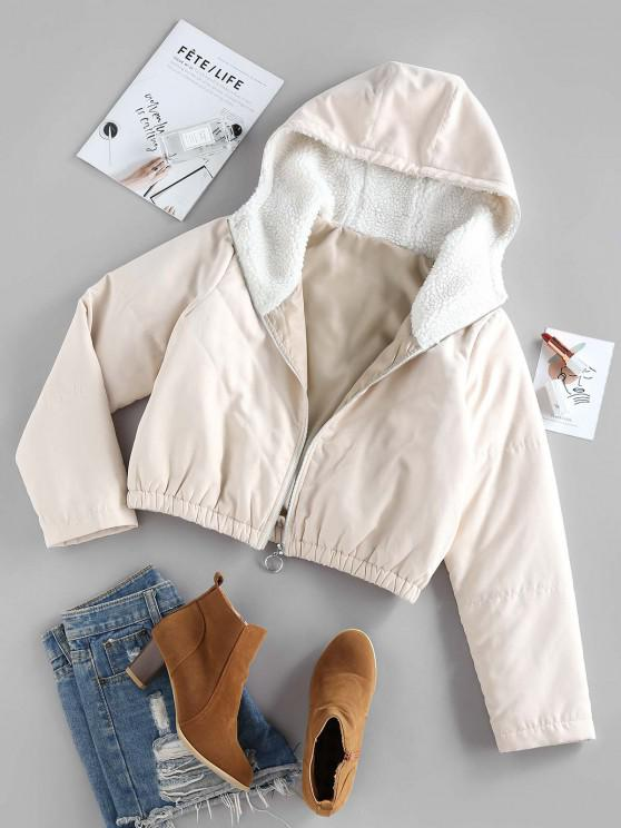 outfits ZAFUL Quilted Teddy Lined Hooded Zipper Coat - LIGHT KHAKI M