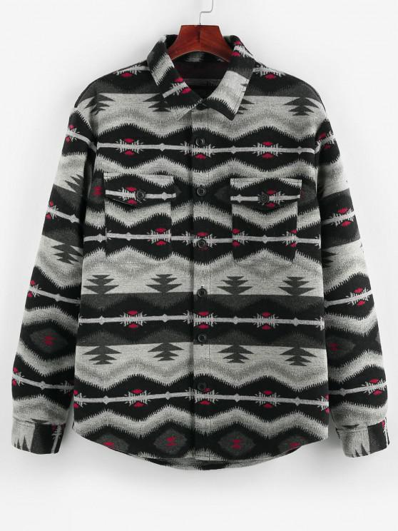 fashion ZAFUL Tribal Jacquard Double Pockets Jacket - BLACK XL