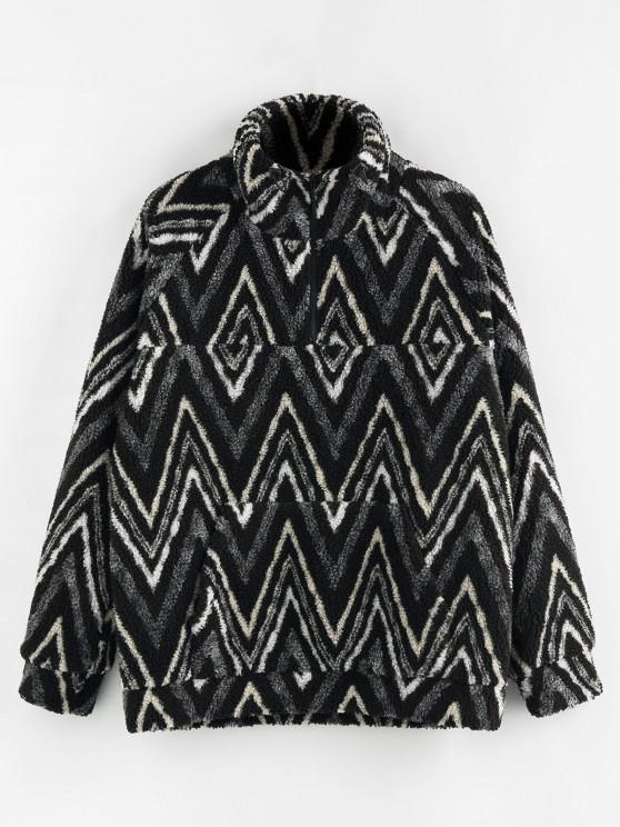 hot ZAFUL Zig Zag Pattern Quarter Zip Teddy Jacket - BLACK L