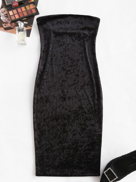 sale ZAFUL Strapless Velvet Midi Bodycon Dress - BLACK M