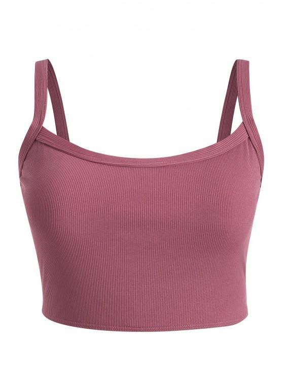 buy ZAFUL Plus Size Basic Ribbed Bikini Top - DEEP RED XL