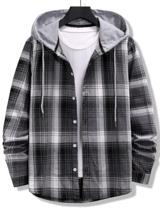 outfit Colorblock Striped Plaid Pattern Button Up Shirt - BLACK M