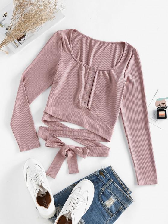 fashion ZAFUL Ribbed Snap Button Wrap Crop T Shirt - DEEP PINK S