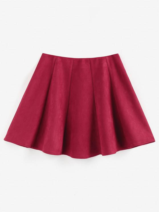 trendy ZAFUL Faux Suede Pleated Front Mini Skirt - DEEP RED S