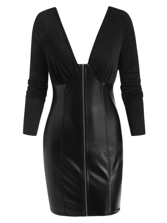 ZAFUL Plunging Zip Front Faux Leather Insert Bodycon Dress - أسود M