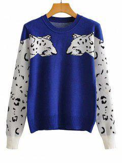 Doppelte Leopard Pullover Mit Rundhalsausschnitt - Blau M