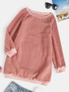 Raglan Sleeve Slouchy Tunic Teddy Sweatshirt - Light Pink L