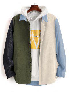 Farbblock Panel Langarm Kord Hemd - Blaugrau L