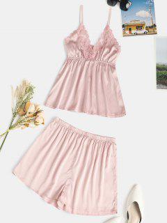 Lace Panel Satin Short PJ Set - Light Pink S