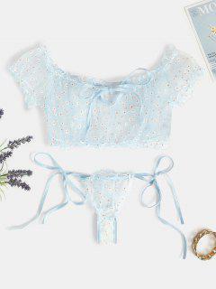 Floral Mesh Tie Lingerie Set - Light Blue L