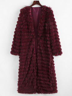Shaggy Faux Fur Open Front Coat - Red L