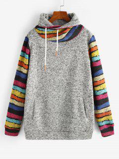 ZAFUL Cowl Neck Stripes Panel Heathered Sweatshirt - Light Gray M