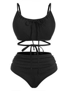ZAFUL Plus Size Ribbed Crisscross Tie Ruched Bikini Swimwear - Black Xxxxl