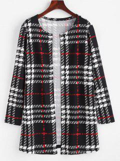 ZAFUL Long Plaid Open Front Coat - Black Xl