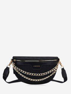 Chain Wide Strap Crossbody Bag - Black