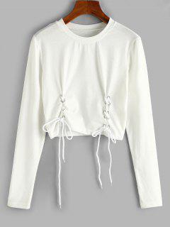ZAFUL T-shirt Court à Manches Longues à Lacets - Blanc L