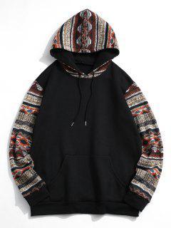 Tribal Patterned Kangaroo Pocket Fleece Hoodie - Black S
