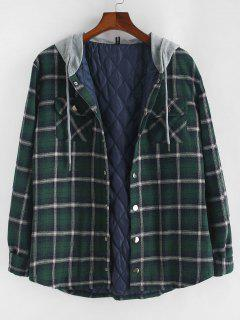 Plaid Print Double Pockets Hooded Padded Jacket - Deep Green L