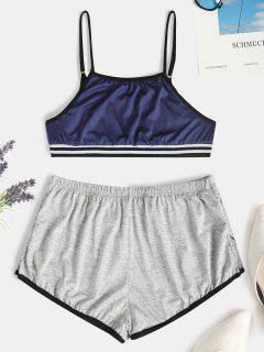 Striped Hem Short Pajama Set - Deep Blue M