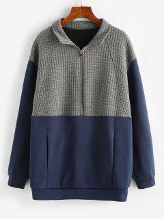 ZAFUL Sweat-shirt Boyfriend Bicolore à Demi-Zip - Bleu L