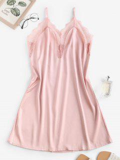Spitzeneinsatz Satin Cami Nacht Kleid - Hell-pink M