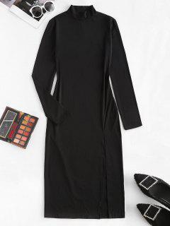 Vestido Ceñido Con Cuello Alto - Negro L