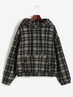 ZAFUL Plaid Fleece Lined Knitted Pocket Hoodie - Brown Bear L