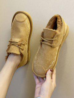 Lace Up Faux Fur Flat Shoes - Brown Eu 39