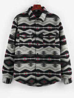 ZAFUL Tribal Jacquard Double Pockets Jacket - Black Xl