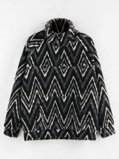 ZAFUL Zig Zag Pattern Quarter Zip Teddy Jacket - Black Xl