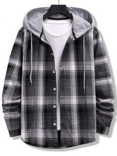 Camisa A Rayas De Bloqueo De Color A Cuadros - Negro L