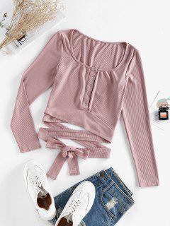 ZAFUL Ribbed Snap Button Wrap Crop T Shirt - Deep Pink S