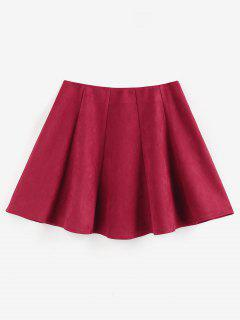 ZAFUL Faux Suede Pleated Front Mini Skirt - Deep Red Xl